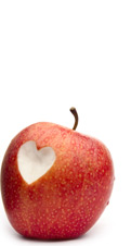 Apple with heart bite